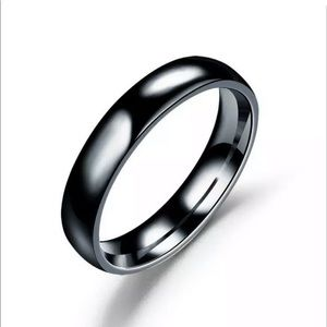 4mm Stainless Steel Engagement Ring Black 😍😍